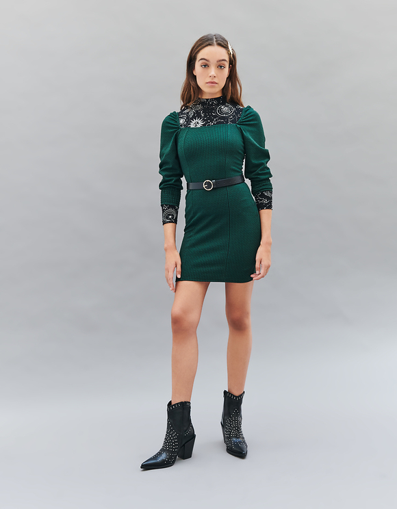 Green Houndstooth Dress with Balloon Sleeves
