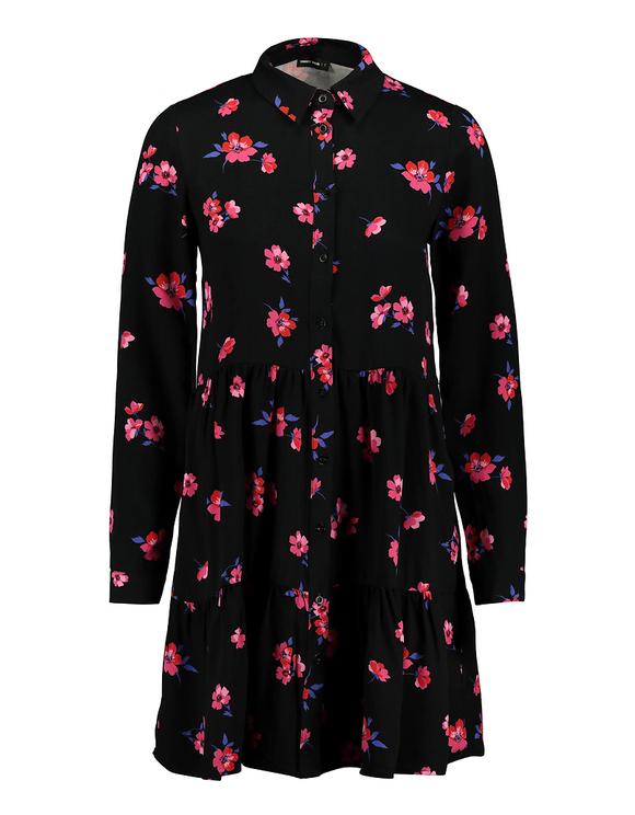Schwarzes Kleid mit Blumen
