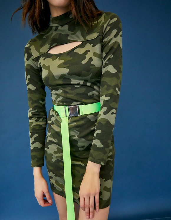 Vestito Aderente Camouflage