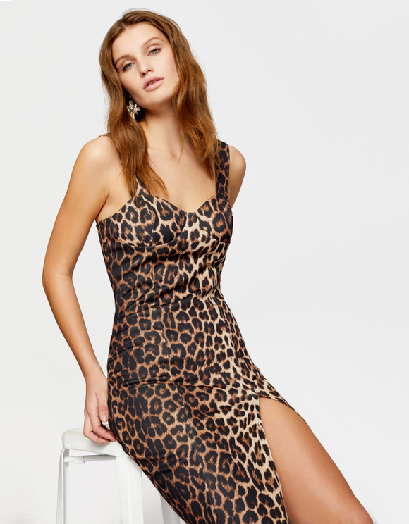 Leo Print Dress with Side Slit
