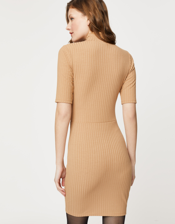 Beige Button Dress