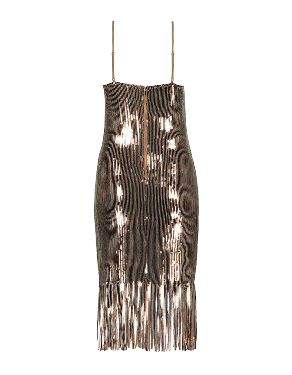 Beige Fringe & Sequins Dress