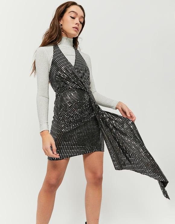 Silver Halter Neck Dress