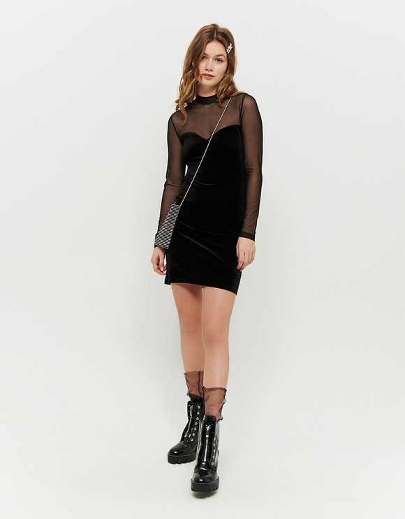 Black Velvet Dress with Mesh