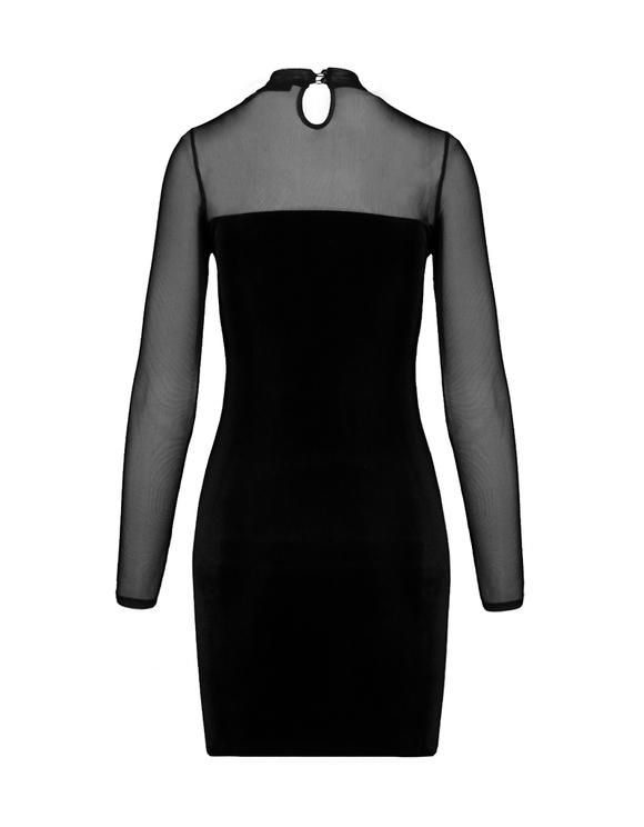 Black Velvet Dress with Mesh