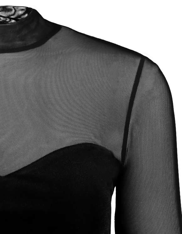 Robe Noire en Velours & Mesh