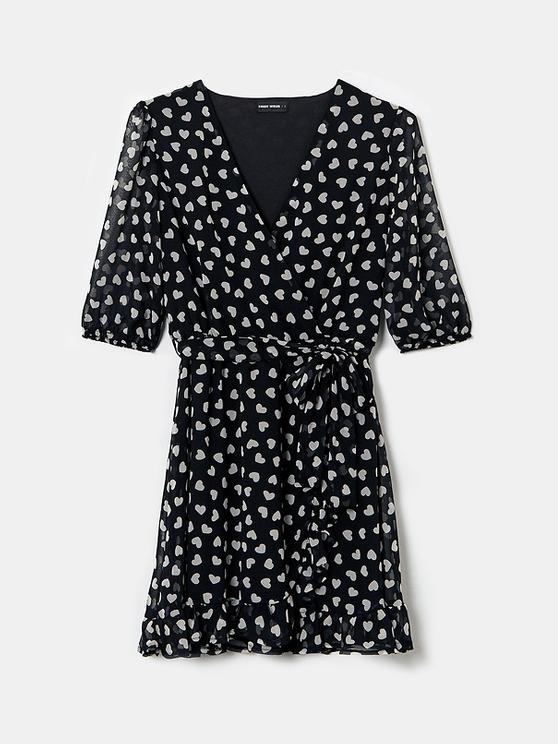 Confetti Heart Print Wrap Dress