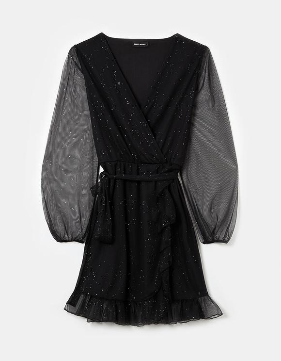 Glitzerndes Kleid mit Cache-Cœur-Ausschnitt
