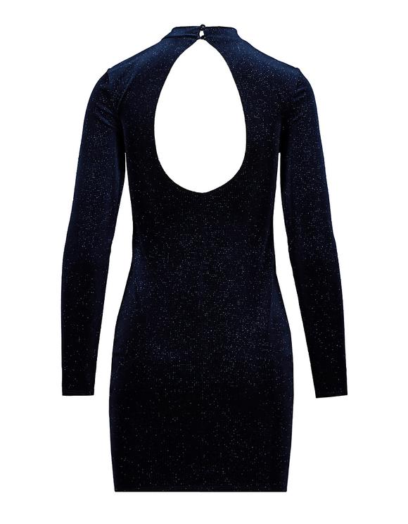 Blue Velvet Dress with Open Back