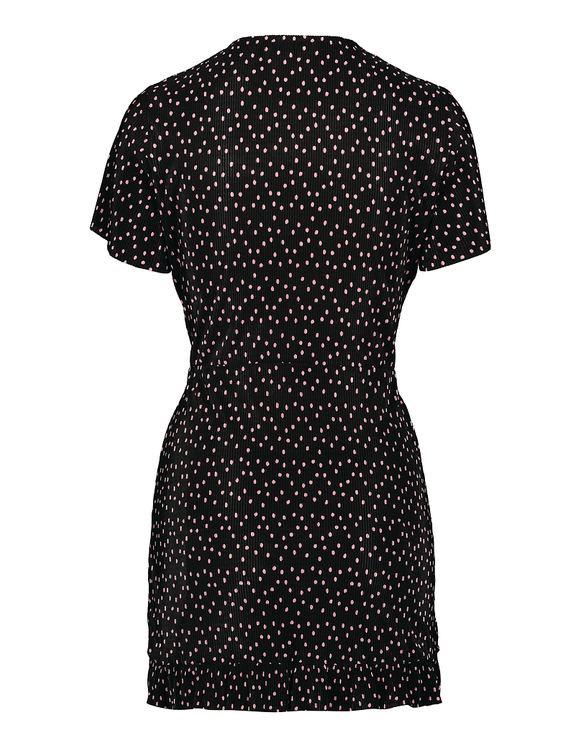 Polka Dot Print Wrap Mini Dress