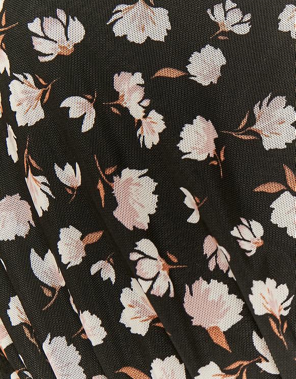 Kleid mit Blumen und Cache-Cœur-Ausschnitt