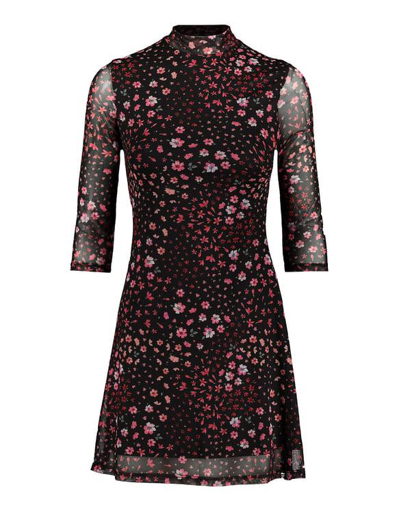Kleid mit Blumen und Stehkragen