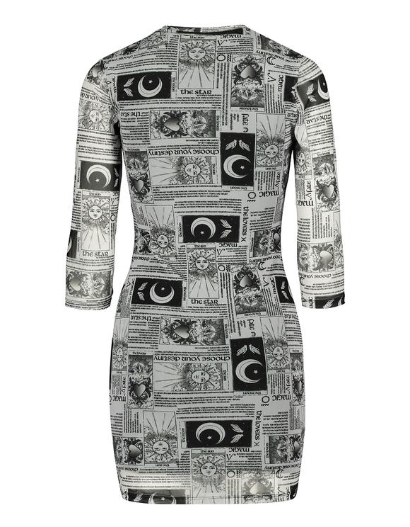 Mesh-Kleid mit Aufdruck