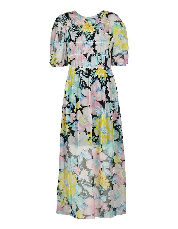 Midi Kleid aus Maschenmaterial mit Blumen