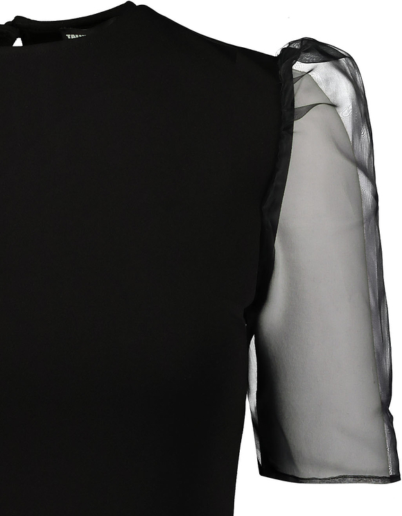 Vestito Nero con Maniche in Organza