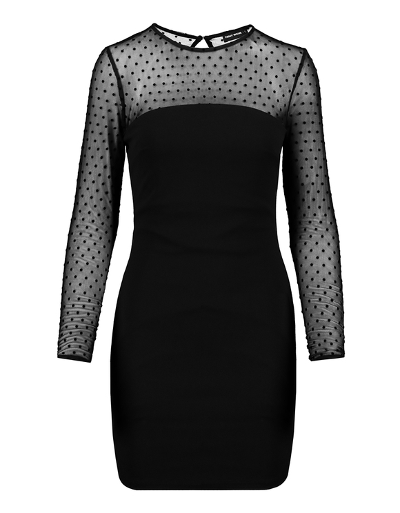 Black Dotted Mesh Dress