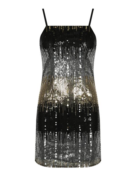 Schwarzes Pailletten-Kleid
