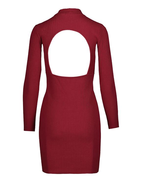 Bordeauxrotes rückenfreies Kleid