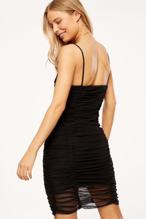 Schwarzes Mesh-Kleid