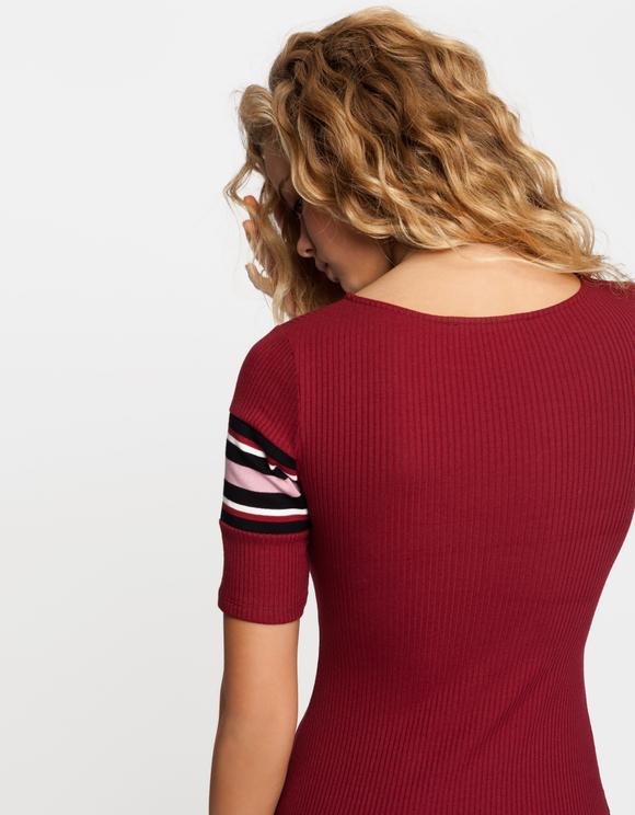 Burgundy Ribbed Dress