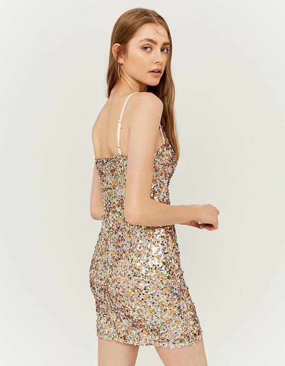 Figurbetontes Kleid mit Stoffverzierung