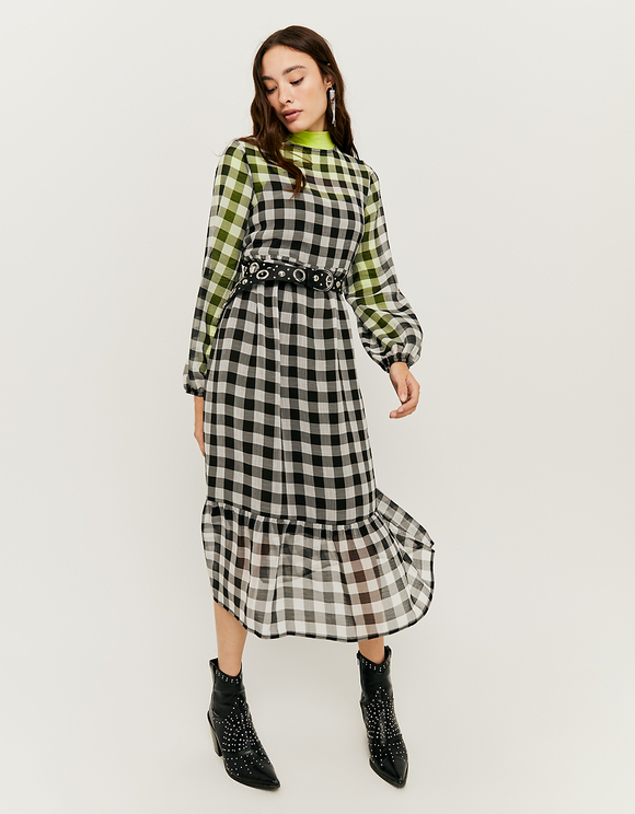 Gingham Check Midi Dress