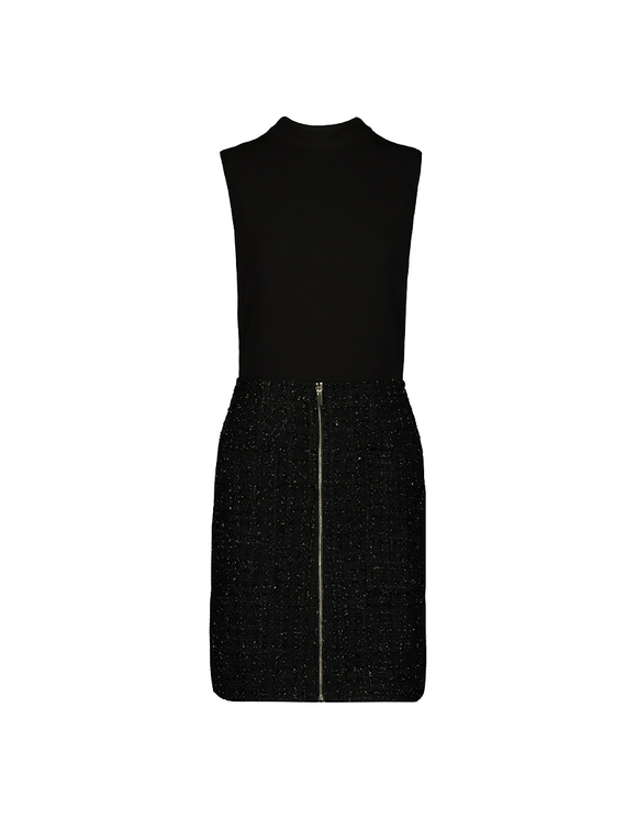 Schwarzer Tweed-Playsuit