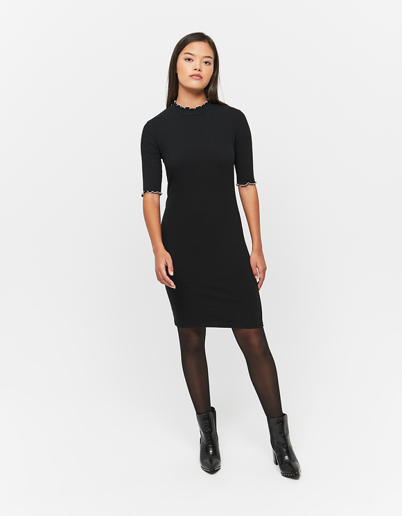 Black Lettuce Hem Dress