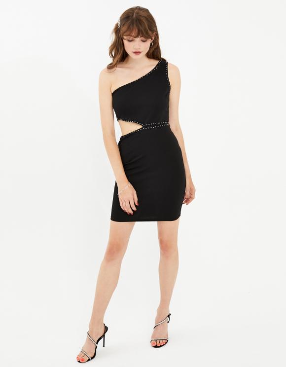 Black Studded Asymmetric Dress