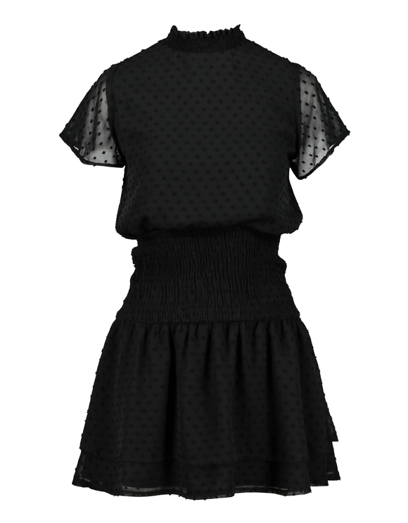 Black Dress with Dotted Mesh