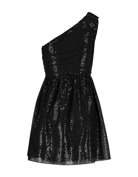 Robe Noire Asymétrique à Pois