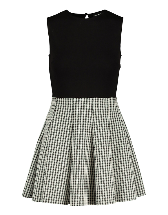 Gingham Mix-Fabric Dress