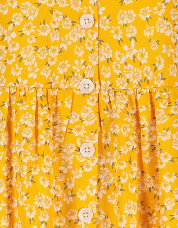 Robe Courte Fleurie Boutonnée