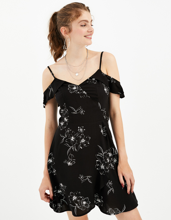 Robe Noire Fleurie