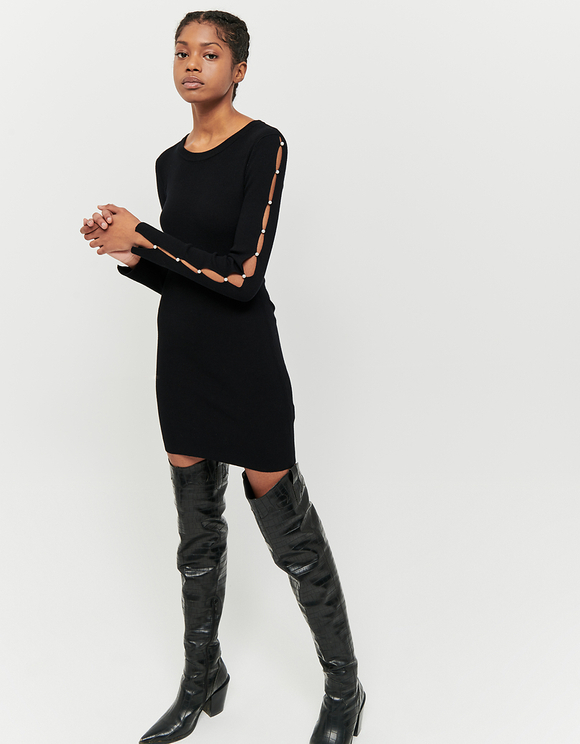 Black Knitted Dress with Pearls