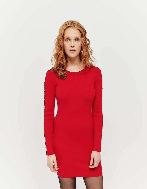 Vestito Rosso in Maglia con Perle