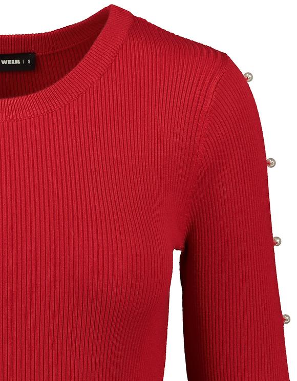 Rotes, gestricktes Kleid mit Perlen