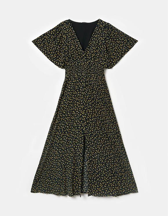 Vestito Maxi a Fiori con Spacco Frontale