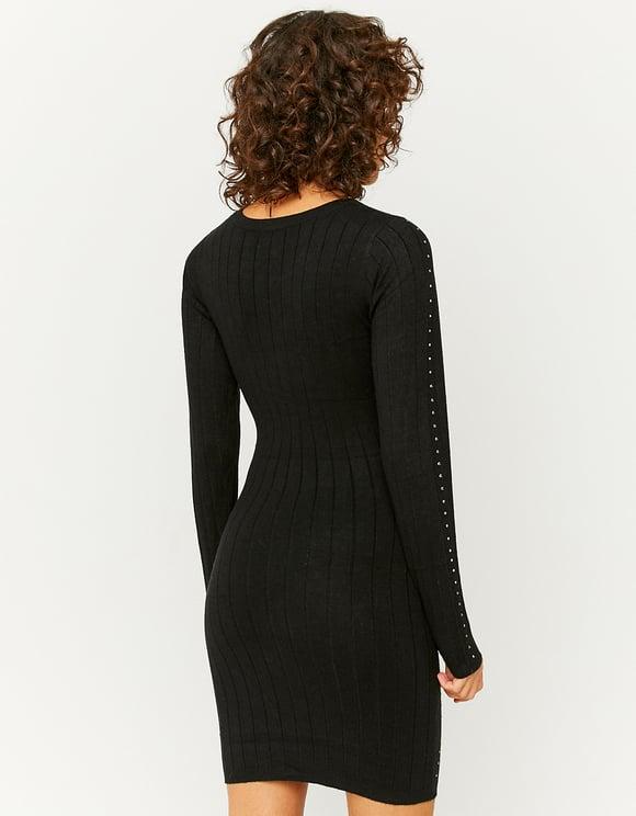 Robe en Maille Noire avec Strass