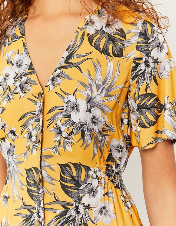 Vestito Giallo con Stampa Tropicale