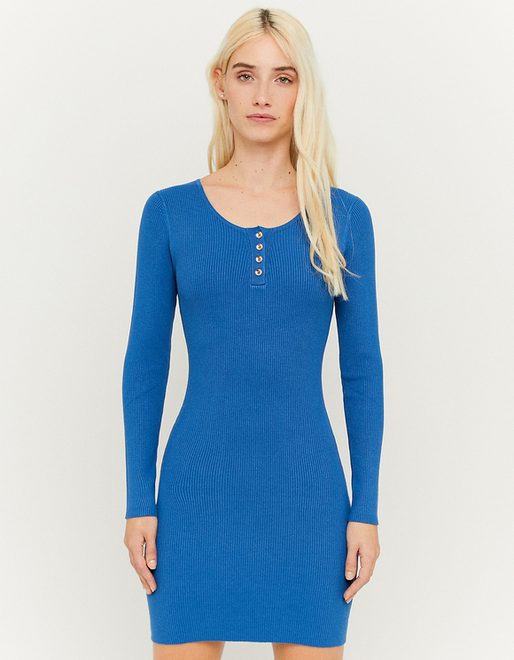 Blaues Strickkleid