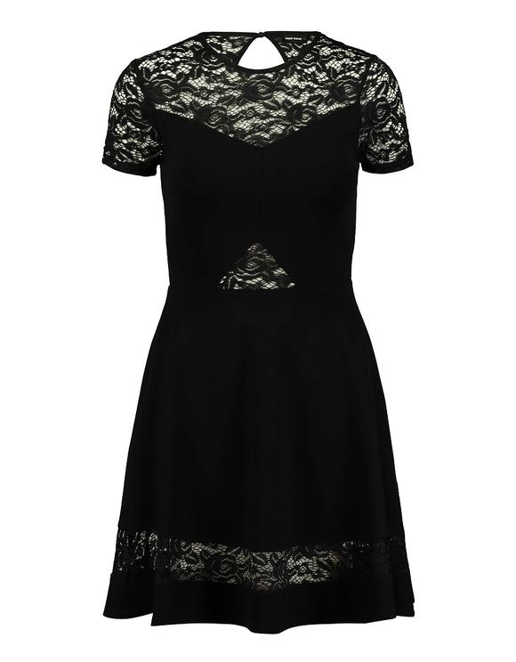 Schwarzes ausgestelltes Kleid mit Spitze