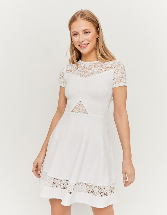 White Lace insert Skater Dress