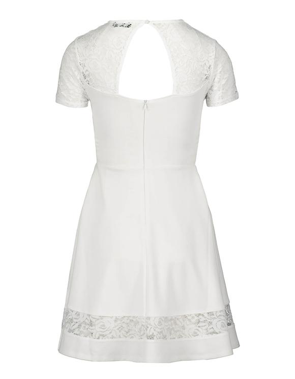 Weißes ausgestelltes Kleid mit Spitze