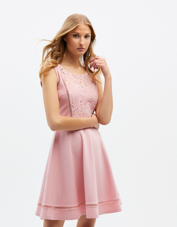 Pink Skater Dress with Lace
