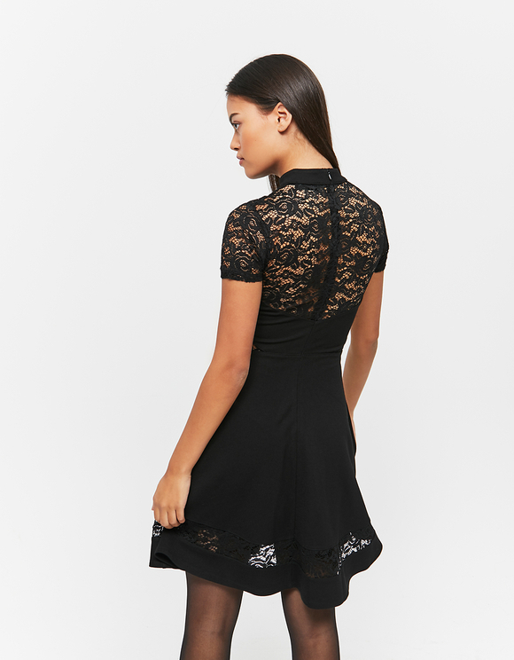 Black Skater Dress with Lace