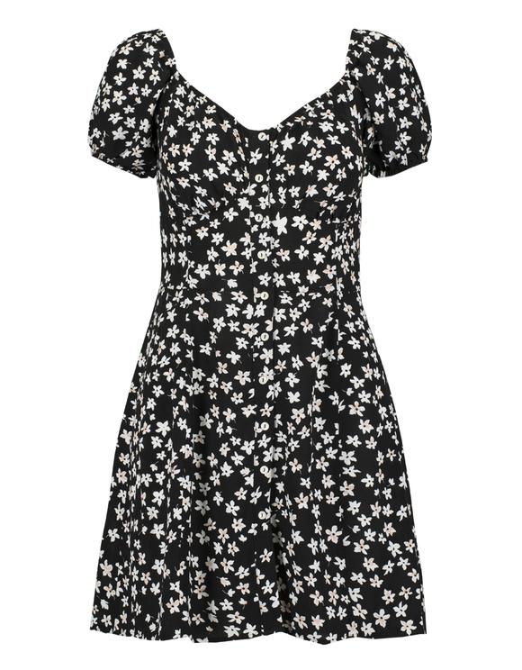 Robe Noire Imprimée Fleurie