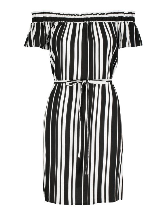 Schwarzes, schulterfreies Streifen-Kleid