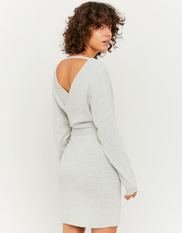 Graues Kleid mit Cache-Cœur-Ausschnitt