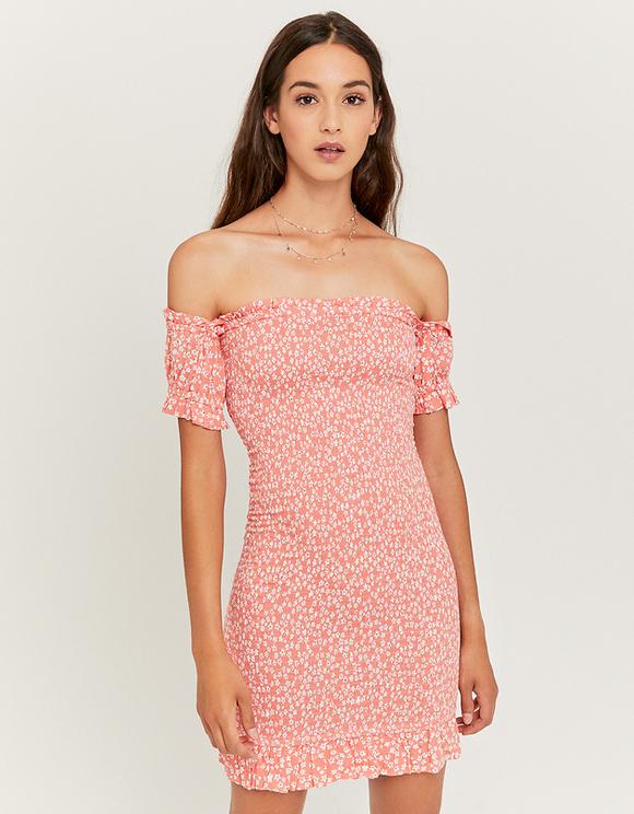 Kurzes gerafftes Kleid mit Blumen | TALLY WEiJL Online Shop